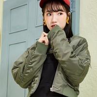 森马女装春季简约连帽立领飞行员女士夹克外套