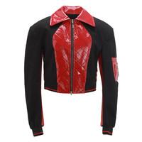 设计师品牌 SIMONGAO PVC绗缝拼接短款夹克 红色 M