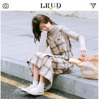 LRUD 长袖打底针织衫格子背带连衣裙两件套
