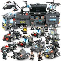 倍奇 8合1特警队 积木玩具特警战车塑料组装儿童男孩子早教智力拼装拼插6-10岁玩具生日礼物