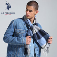 U.S.POLO 羊毛围巾男 大方格围脖 围巾京配礼盒装 PWJOO-60059 蓝灰格
