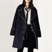 MO&Co./摩安珂 撞色边大翻领双排扣中长款羊毛呢外套大衣