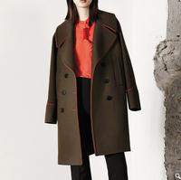 MO&Co. 摩安珂 撞色边大翻领双排扣中长款羊毛呢外套大衣