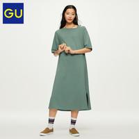 GU极优女装不对称领连衣裙5分袖宽松显瘦露肩中长款连衣裙318110