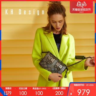 预售KHDesign明治女包真皮宽肩带斜挎包时尚小方包新款休闲单肩包