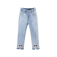 Mini Peace 太平鸟童装 F2HA93V01 迪士尼 女童牛仔裤 (蓝色、110/53)