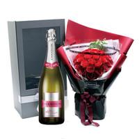 夏桐Me粉红起泡酒&33朵红玫瑰香皂花礼盒 甜蜜新年情人节礼物