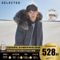 预售SELECTED思莱德狐狸毛连帽鸭绒机能中长羽绒服男S|419412A13