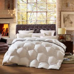 LOVO家纺 罗莱生活出品 羽绒被90白鹅绒被 保暖加厚冬被子被芯 六边形立体聚温100%水洗白鹅绒被 220*240cm