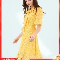 ELAND2019夏季新款ins法式桔梗度假碎花黑色连衣裙仙女EEOW925H2B