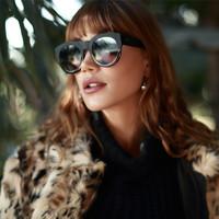 Quay Australia IF ONLY时尚复古个性夸张圆形眼镜防紫外线防UV墨镜偏光镜男女款太阳镜
