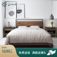 ZINUS际诺思美式实木艺术铁艺床1.5米1.8米主卧双人床索纳特MW1