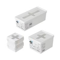 inomata 带盖十字收纳盒一次性手套厨房储物盒塑料整理盒