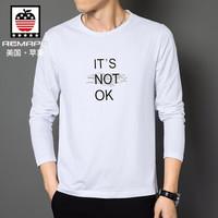 AEMAPE/美国苹果 长袖T恤男时尚休闲尚简圆领印花潮流修身男士秋衣 白色 2XL