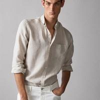 Massimo Dutti 00152052712 男士亚麻衬衫