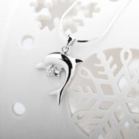 MY FASHION DESIGN  SLW266 海豚戲珠項鏈 銀色