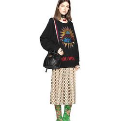 GUCCI 古驰 GG Marmont系列 女士时尚绗缝抽绳彩色背带水桶包单肩斜挎包