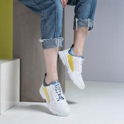 19年新品 牛皮革&格利特撞色时尚厚底休闲老爹鞋冲孔小白鞋