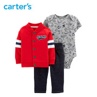 Carters2019夏装新款连身衣长裤外套3件套男婴童针织套装16488110