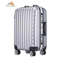weekender时尚铝框拉杆箱20寸万向轮登机箱ABS+PC行李箱男女 银色 20寸(登机箱)