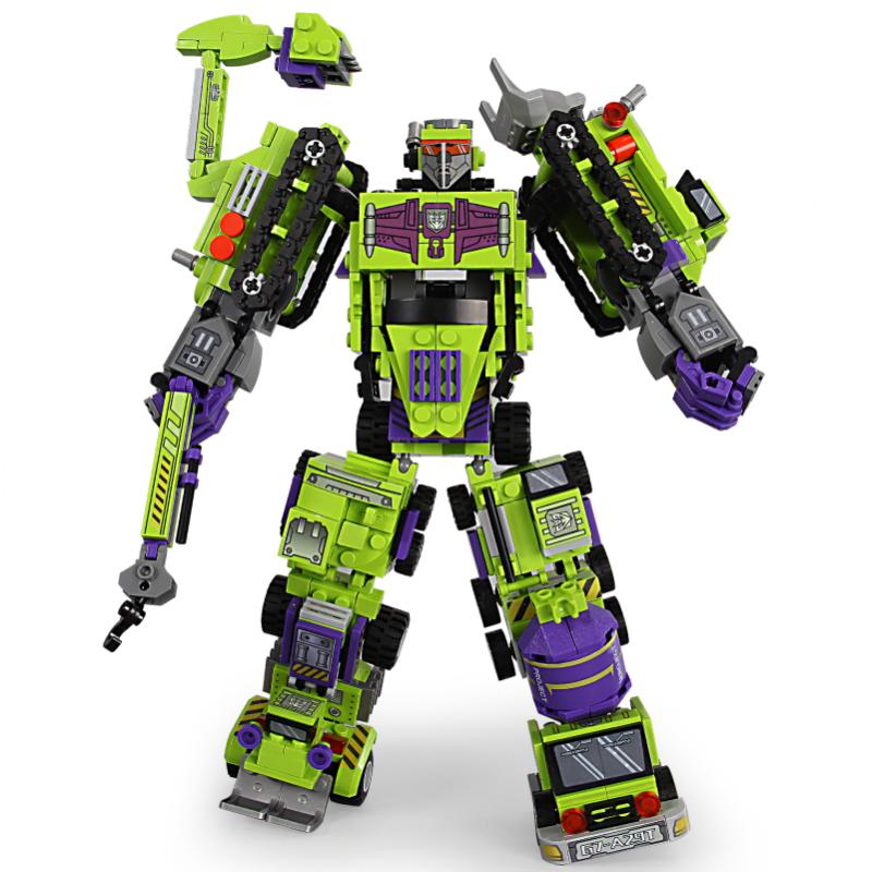 新森宝 变形机器人积木 积变大力神 整套六盒
