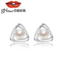京润珍珠 欲望都市系列 925银镶淡水珍珠耳钉