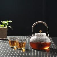 Le Bronte 朗特乐 玻璃茶具套装(锤目纹提梁壶 600ml+玻璃茶杯 50ml*2)