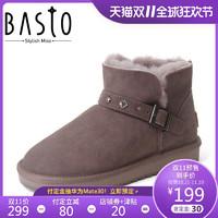 百思图冬季商场同款牛皮革加绒雪地靴女短靴Y5805DD8