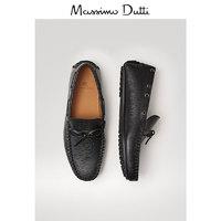 预售 Massimo Dutti 男鞋 黑色皮革结饰乐福鞋男士休闲舒适鞋子 16300022800