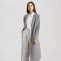 羊毛混纺MECITY女装气质港风灰色复古双面呢宽松大衣外套中长款+凑单品