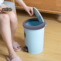 汉世刘家 脚踏带盖垃圾桶  8L 圆形蓝色