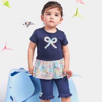 曼琳婴宝 春夏女童夏装 宝宝婴儿短袖T恤棉质短裤套装夏天1-4岁潮