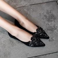 KumiKiwa 卡米 女士羊反皮尖头平底鞋