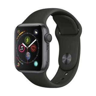 Apple 苹果 Apple Watch Series 4 智能手表 (深空灰铝金属、GPS、40mm、黑色运动表带)