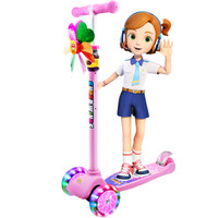 超级飞侠儿童滑板车2-6-12岁 四轮闪光 多档可调 宝宝滑滑车踏板车摇摆车溜溜车 抖音网红同款 AIR版 小爱粉
