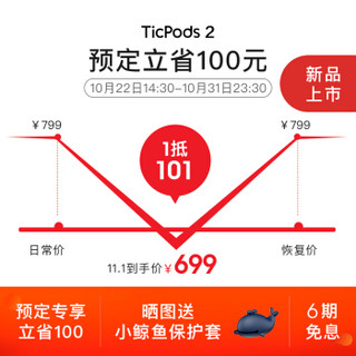 Mobvoi 出门问问 TicPods 2 Pro AI真无线耳机 蓝牙/运动/智能耳机/免唤醒词快捷口令/半入耳降噪 直蓝
