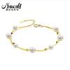 AINUOSHI 瑷乐诗 18K金 淡水白色珍珠 手链 6-7mm