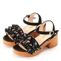 Dukkah Dukkah/褶边木材型凉鞋我们前进鞋凉鞋/黑尾鹿粉红黑色红
