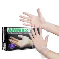 AMMEX 爱马斯  一次性塑胶塑料手套 中号 100只 *3件