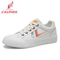 L'ALPINA袋鼠 时尚女鞋韩版饼干鞋女百搭平底单鞋舒适休闲鞋子DL901白黄36