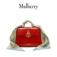 Mulberry/玛珀利 限量款Seaton饰丝巾牛皮单肩斜挎手提小包HH5616