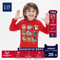 Gap男幼童圆领长袖套头T恤秋季496414 2019新款动可爱动物图案