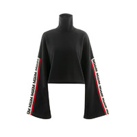 MSGM 黑色袖边logo联名款女士长袖卫衣