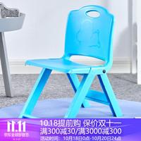 格田彩 加厚塑料小凳子家用便携式折叠凳 靠背椅子小板凳试鞋凳小学生矮凳 蓝色(加厚加固)