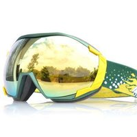 BASTO邦士度滑雪眼镜双层球面防雾镜片 超清晰大视野 防风防雾防冲击 滑雪镜 SG1313砂绿黄REVO