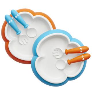 BABYBJORN 宝宝餐盘汤匙叉子套装 蓝色+橙色 *2件