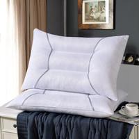迎馨 全棉水洗棉枕头格子条纹纤维枕 灰色定型  48*74cm