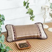 迎馨 全棉水洗棉枕头格子条纹纤维枕 灰色常规  48*74cm