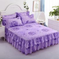 移动端 : 床裙单件 床罩简约亲肤磨毛 植物花卉床裙 玫瑰爱人 150*200cm