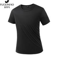 富贵鸟运动t恤男短袖夏季新款体能服速干衣透气吸汗圆领速干T恤 男BH818黑色 L